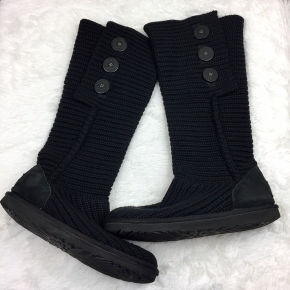 UGG Shoes - UGG Black Classic Cardy Sweater Boots 8